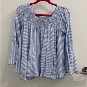 Tops - Stripped off the shoulder shirt